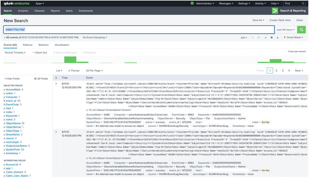 Before starting a search, first verify that events are being delivered to the Splunk HEC